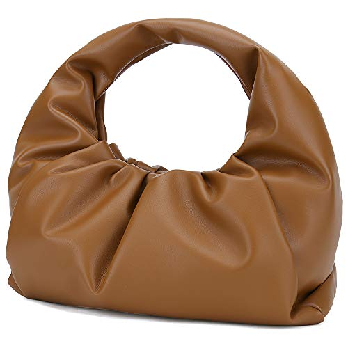 Genuine Leather Dumping Bag for Women Cloud Purse with Ruched Design