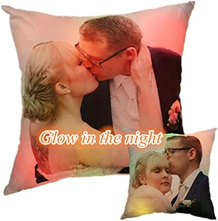 Personalized Light Up Glowing LED Pillow Custom Photo Luminous Pillow 2-Sided Christmas Birthday Xmas Gift Soft Cushion Decorative Throw Pillows