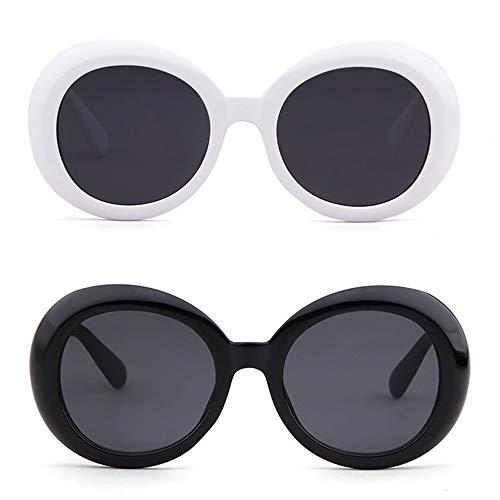ADEWU 2 Femmes Clout Lunettes pcs de Hommes Mode soleil Oversize Black Ovale Vintage Goggles White ZqnZzrO