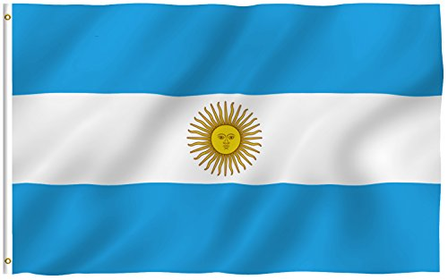 ANLEY [Fly Breeze] 3x5 Foot Argentina Flag - Vivid Color and UV Fade Resistant - Canvas Header and Double Stitched - Argentinian National Flags Polyester with Brass Grommets 3 X 5 Ft
