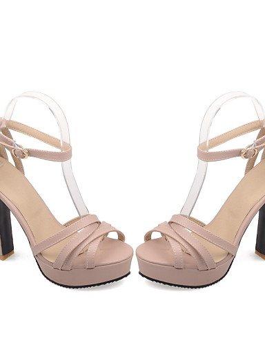 LFNLYX Zapatos de mujer-Tacón Stiletto-Tacones / Punta Abierta-Sandalias-Casual-Semicuero-Negro / Rosa / Blanco / Beige Pink