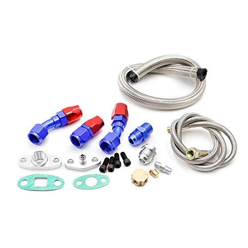 Car Turbo T3 T4 T3/T4 T70 T66 TO4E Turbo Oil Feed Line Oil Return Line Oil Drain Line Kit Blue and Turbo Oil Feed Hose: DIY & Tools