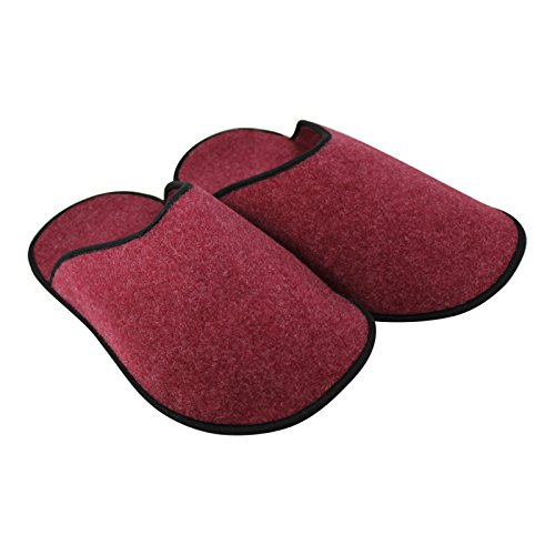 OLShop AG Unisex Filz 5 Paar Museumspantoffeln Überziehschuhe groß Rot