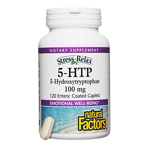 Enteric Coated 5 Htp - Stress-Relax by Natural Factors, 5-HTP 100 mg, Support for Emotional Health and Relaxation, 120 caplets (120 servings)