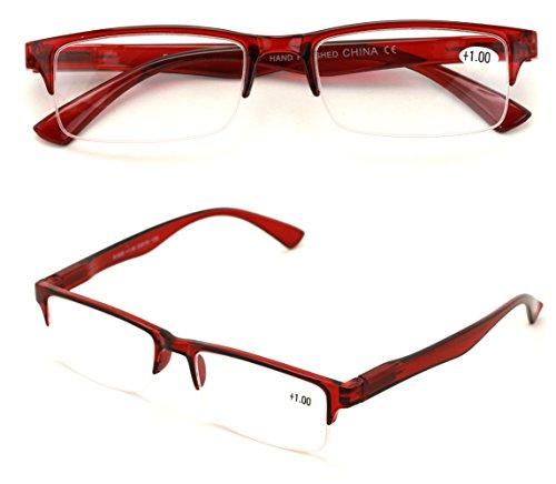 2 Pairs Rectangular Half Rim Reading Glasses - Simple Classic Reader (Maroon, 1.00) ()
