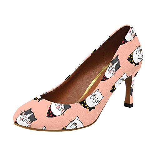 INTERESTPRINT High Heel, Formal, Wedding, Party Simple Classic Dress Pump Face of Cat for Halloween Day on Sweet Pastel 7 B(M) US -