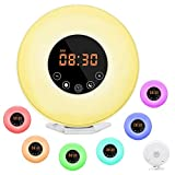 Wake Up Light, Dostyle Alarm Clock with Sunrise & Sunset Simulator, 6 Nature Sounds, 7 Colors Night Light, FM Radio, Touch Control - with Snooze Function for Heavy Sleepers - White