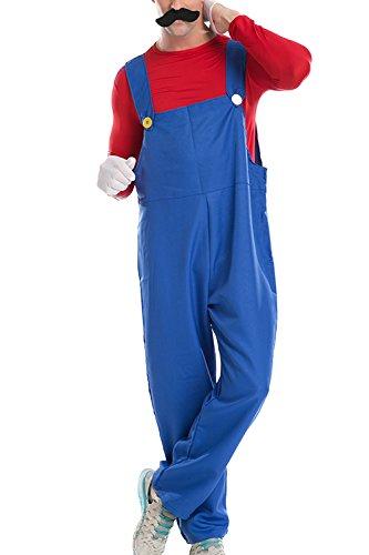 AIKOSHA ROMAN Men's Halloween Party Role-playing Super Mario Bros.Luigi Male Deluxe Costume