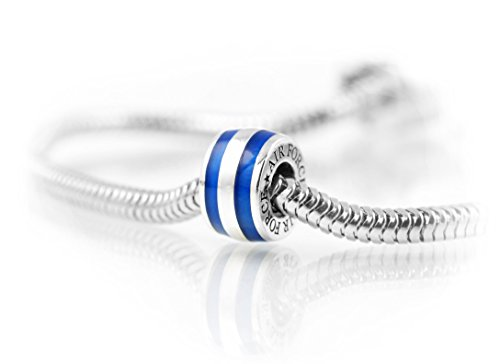 Thin Line AIR FORCE Charm: Cobalt Blue Enamel with Sterling Silver Threaded Core.