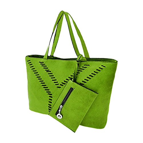 Borsa a mano shopping bag modello Yvonne da spalla donna. MEDIA WAVE store (Verde)
