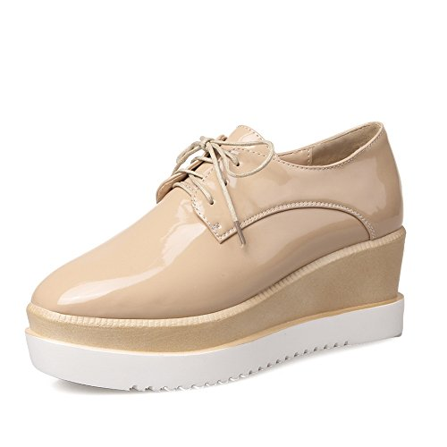 Leather Shoes Pumps AdeeSu Womens Bandage Patent Wedges nbsp;Color Assorted Apricot Platform waFzAwx