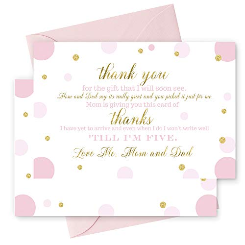 15 Pink and Gold Thank You Cards with Blush Envelopes Stationery for Girls Baby Shower Gorgeous Abstract Dot Party Theme
