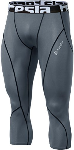 Tesla TM-P15-GRKZ_Small Men's Compression 3/4 Capri Shorts Baselayer Cool Dry Sports Tights P15