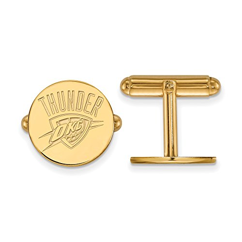 NBA 14k Yellow Gold Plated Sterling Silver Oklahoma City Thunder Cuff Links by LogoArt