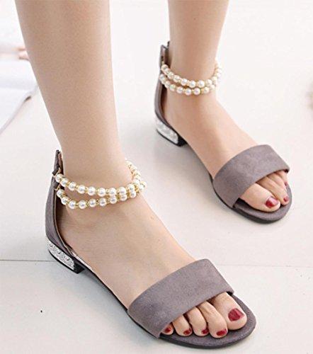 tacón baja con Grey del cremallera de broche sandalias mujeres las sandalias planas de de abiertas perlas sandalias de después de bolso palabra la SY8wZx8
