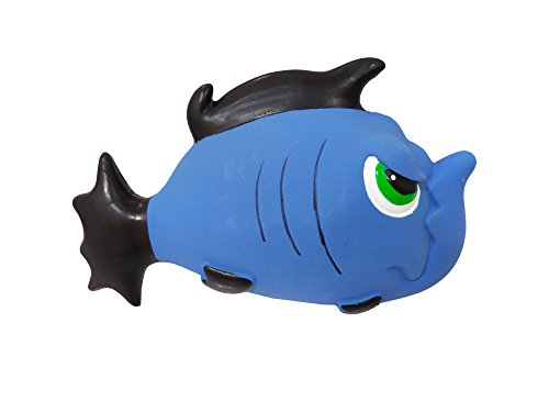 Premium Dog Toy | Stuffed Latex Angry Blue Fish | 7.5 Inch