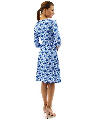 Donne geometrica PattyBoutik avvolgere Blu finto E un linea Pervinca abito Bqw7av