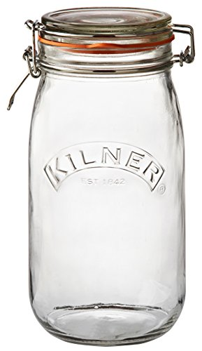 Kilner Round Clip Top Jar, Large Glass Canister with Airtight Seal for Home Canning, Preserving, and Storing, 51-Fluid Ounces (Best Places For Wedding Registry Canada)