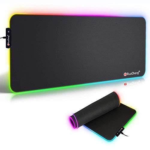RuoCherg RGB Mauspad, 780 x 300 mm Gaming Mousepad mit 7 LED Farben 10 Beleuchtungs-Modi Mouse Pad Schreibtischunterlage Wasserdicht Anti Rutsch Matte für Computer PC Professionelle Gamer