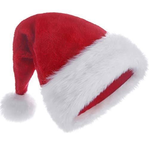 HUICOCY Santa Hat,Unisex Velvet Fabric Christmas Hat with Comfort Lining&Plush Brim Red]()