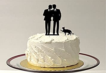 Gay Cake Topper Cat Same Sex Mr Mr 2 Grooms Gay Silhouette