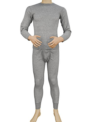 Men's 2pc Long Thermal Underwear Set (Heather Grey, Small) ()