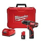 "Milwaukee M4 2407-22 Taladro Atornillador Inal 3/8"" 12 V 450-1500 Rpm 250 In/Lb Inal 2 Bat M12 Cp1.5 Carg Bolsa"