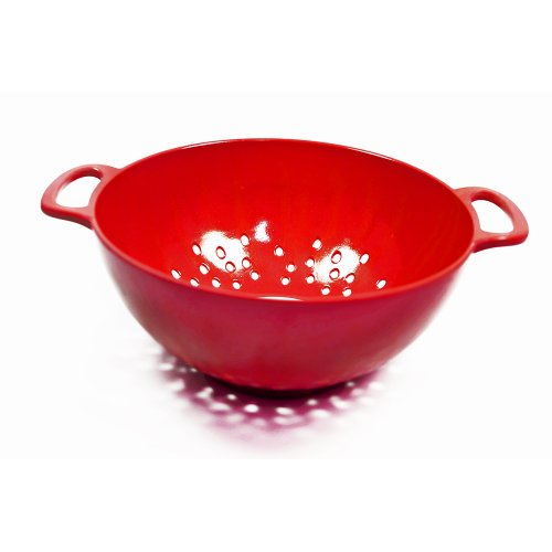Natural Home Molded Bamboo Colander, 3-Quart, Cherry Red