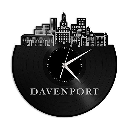 VinylShopUS - Davenport IA Vinyl Wall Clock City Skyline Souvenir Best Gift for Friends Office and Bedroom | Home Anniversary Decoration -