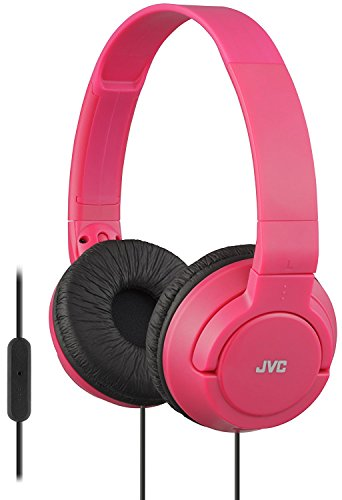 JVC Lightweight Flat Foldable On Ear Colorful Lightweight Foldable Headband with Mic, Red (HASR185R)
