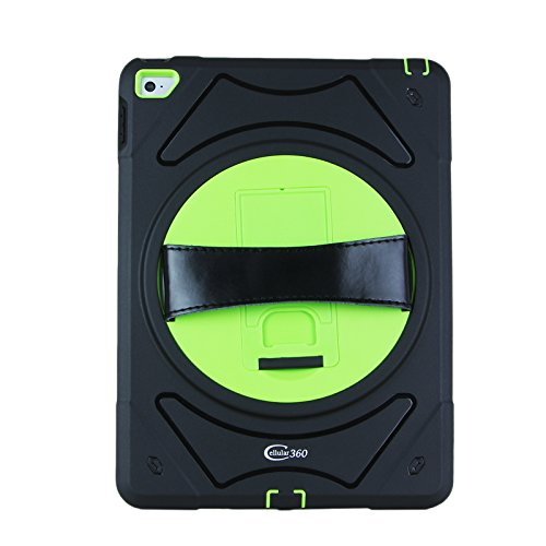 Cellular360 Shockproof Case for Apple iPad Air 2 , Protective and Handy Case with 360 Degrees Rotatable Kickstand and Leather Handle (Black/Green) by Cellular360