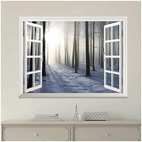 Modern White Window Looking Out Into a Snowed Forest with The Sun Peeking Through - Wall Mural, Removable Sticker, Home Decor - 24x32 inches