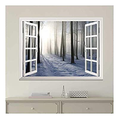 Classic Design, Pretty Print, White Window Looking Out Into a Snowed Forest with The Sun Peeking Through Wall Mural