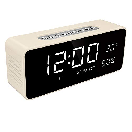 FM Radio Alarm Clock with 8 Dimmable Large LED, USB Charger Port, Rechargeable Battery Backup, Sleep Timer, Adjustable Volume, Temperature Digital Display, Snooze, Bedroom Wireless Speaker, Soundance