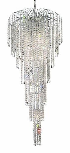 Elegant Lighting 6801G25C RC Falls 59-Inch High 11-Light Chandelier, Chrome Finish with Crystal Clear Royal Cut RC Crystal