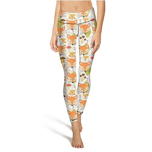 Eoyles gy Women High Waist Tummy Control Fox Faces Tights Yoga Pants Leggings -