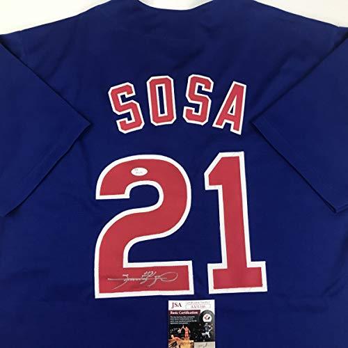 (Autographed/Signed Sammy Sosa Chicago Blue Baseball Jersey JSA COA)