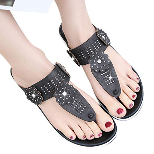 (Women Flower Rhinestone Sandals Clearance Sale, NDGDA Roman Sandals Flat Bohemian Female Sandals Clip-On Beach Sandals)