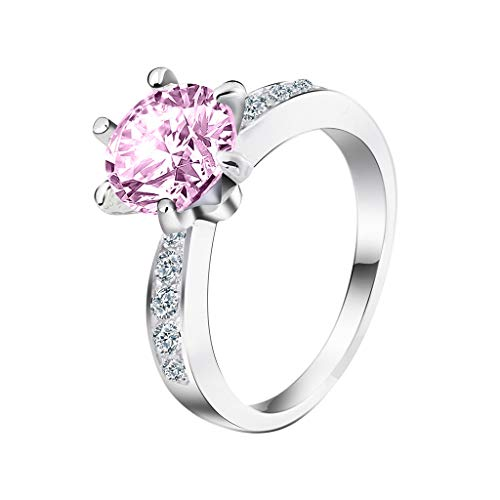 Rings for Women Cubic Zirconia Diamond Geometry Six Claw Wedding Ring Jewelry Gift (Pink, 6)