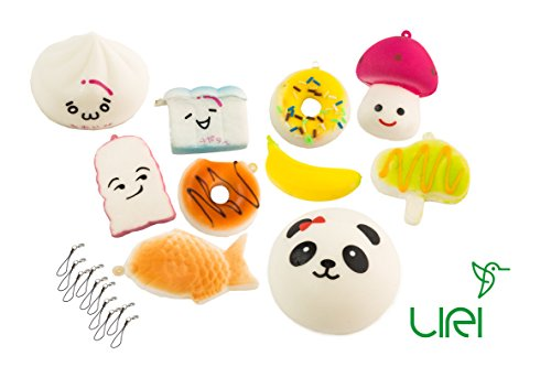 Cute Silly Candy (Squishies 10 pcs Slow Rising, Kawaii Squishy Toys. Medium and Small Sizes. Cute Panda, Animals, Food, Cartoon with Straps. Ideal for Stress relief, Pretend Play, Collectible, Gifts for Kids and Adults)
