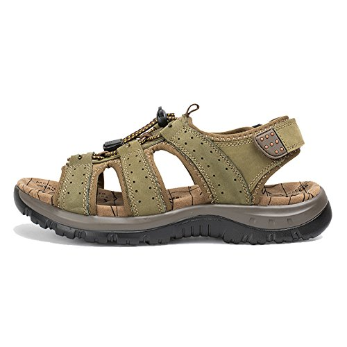 Loop Sandals Lace Womens AGOWOO Hiking Beach and Hook Up Green 6BpxqRX8