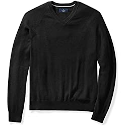 Buttoned Down Men's Cashmere V-Neck Sweater, Black, Large