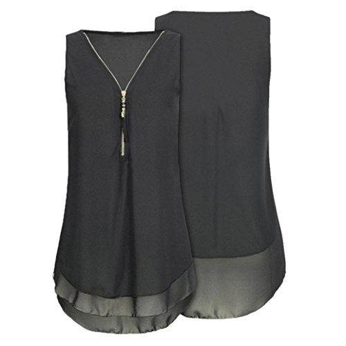 Tops 5 Frauen Schwarz DOLDOA Reißverschluss Shirt Sommer Oberteile Tank T Damen 7UO4w4