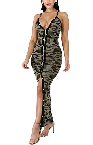 Women Sexy Camouflage Dress - Spaghetti Strap V Neck Long Maxi Evening Party Club Night Wear Camo XL