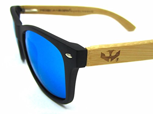 Gafas madera MIX de modelo NEGRA BLUE wood and SOLID sunglasses ICE BLACK MOSCA rr4Oq