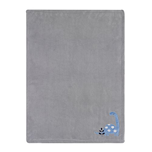 Lambs & Ivy Bedtime Blanket - Bedtime Originals Roar Dinosaur Blanket, Blue/Gray