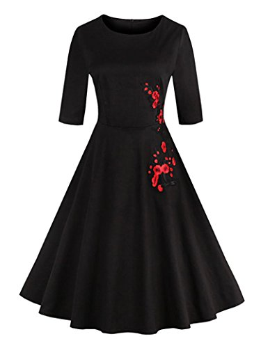 Floerns Women's Vintage 1950's Casual Rockabilly Swing Tea Dress Flower Print Applique Circle Round Neck Party Cocktail Skirt Black Embroidered S Circle Print Dress