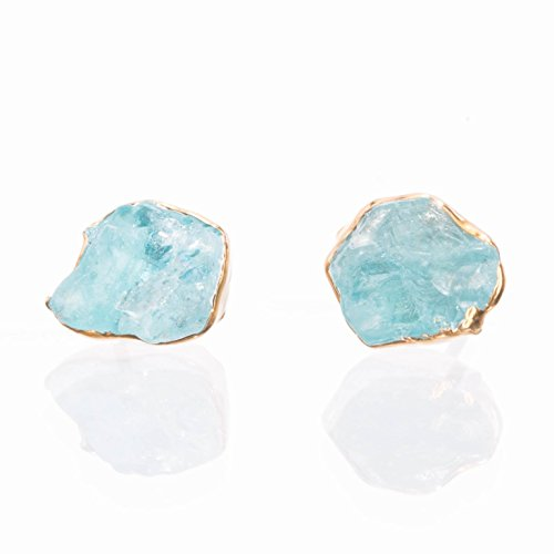 Raw Crystal Earrings, Raw Apatite Studs, Yellow Gold (Earrings Crystal Petite)