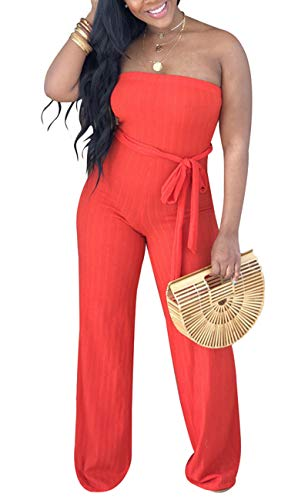 (Aro Lora Women's Sexy Sleeveless Ribbed Tube High Waist One Piece Pant Outfit Wide Leg Jumpsuit Romper Large Red)