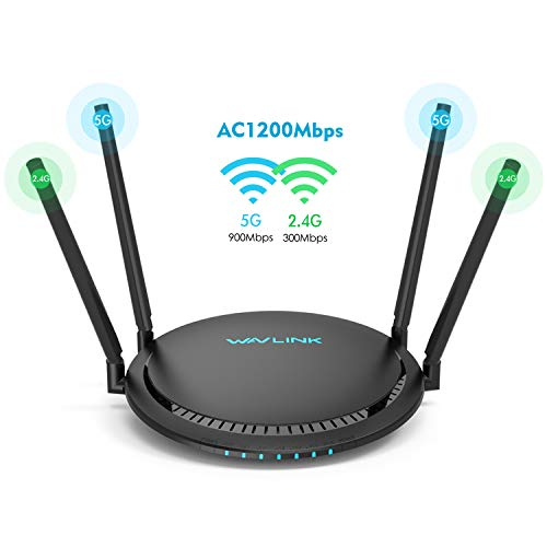 AC1200 Smart WiFi Router - WAVLINK 1200Mbps TouchLink Smart Dual Band Gigabit Wireless Internet Router,5Ghz + 2.4Ghz with 4x5dBi Omni Directional Antennas WiFi Router for Online Game&HD Video (Router Wifi Ac1200 Smart)